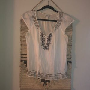 Ann Taylor Loft white peasant top S